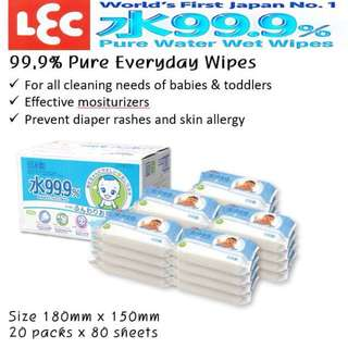 LEC 99.9% pure water EVERYDAY WIPES