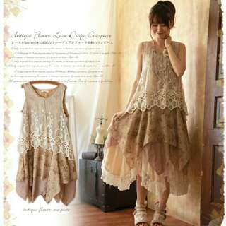 Antique flower Japanese style dress