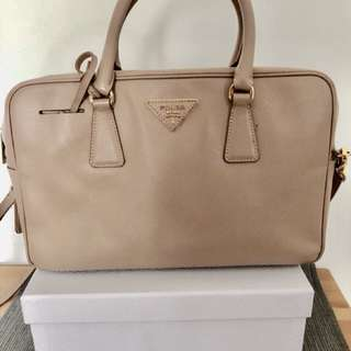 Prada light taupe leather tote bag