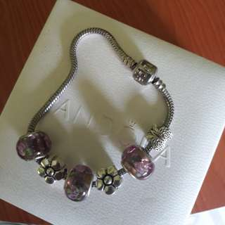 Pandora Inspired bracelet with free spacers and charms