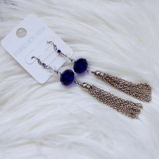 FOREVER NEW Moroccan Blue Tassel Earrings