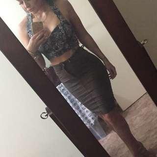 Khaki denim pencil skirt size 6