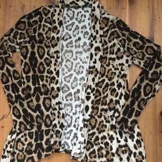 Leopard print waterfall blazer jacket