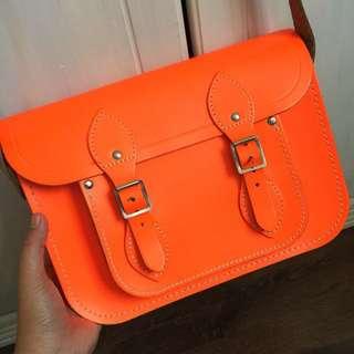 The Cambridge Satchel Company - neon orange leather bag