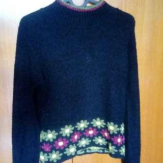Sweater Knit Wear Hitam Wool untuk Winter Musim Dingin Preloved