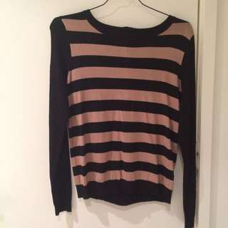Warehouse Striped Long Sleeved Shirt Size 12 (M-L)