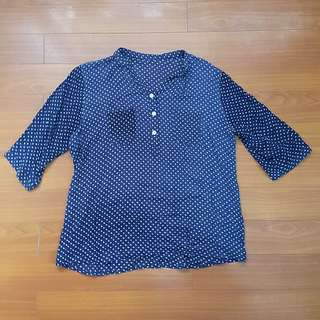 Pre-loved Blue and White Polka-dotted Top