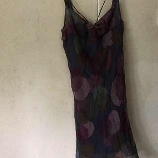 Small size european smooth silk evening sexy dress - sisley