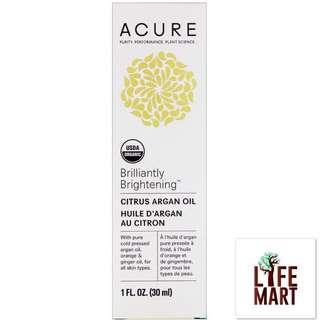 *FREE MAIL* Acure Organics, Brilliantly Brightening, Citrus Argan Oil (30ml)