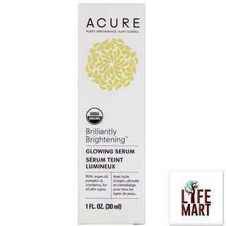 *FREE MAIL* Acure Organics, Brilliantly Brightening, Glowing Serum (30ml)