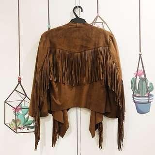 BERSHKA Fringe Jacket