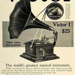Record gramaphone & telipon antik..