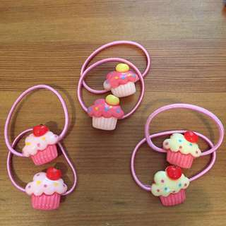 CUTE CUPCAKE HAIR TIES/hair accessories *BRAND NEW*