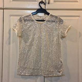 NEW! F&F Classic White Sequined Top