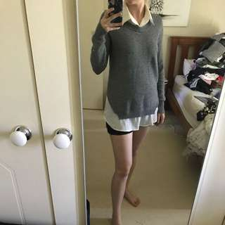 Grey/white Knit Jumper Size S