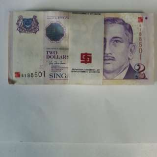 $2 Yusof Ishak Series 100pcs running numbers
