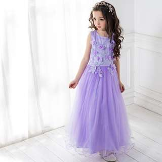 Pretty Purple Long Dinner Girl Dress Suitable for any Occasion