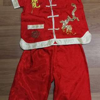CNY Traditional Chinese New Year Kids Boy Long Pants Set - red