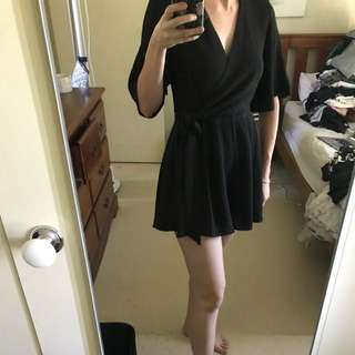 black sleeve playsuit with tie waist size 8