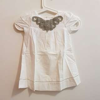 CNY CLEARANCE: BN White Cotton Butterfly Dress/Blouse