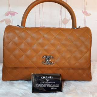 Chanel Coco Handle Medium in Caramel caviar with gunmetal hardware