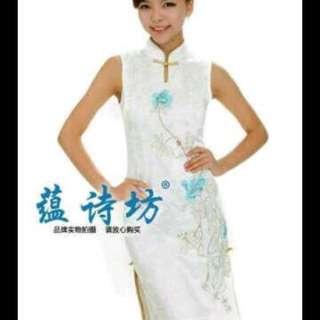 Cheongsam bordir white size L