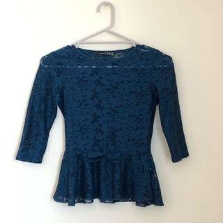 Sapphire blue lace 3/4 sleeve top