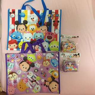 All For $10 - BN Tsum Tsum x2 metal coin purses & x2 reusable bag