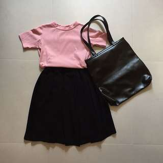 PU Black Leather Tote Bag