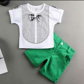 White and Green Bow Tie Set