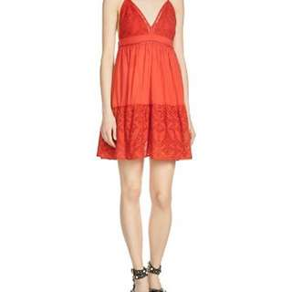 Maje red Rendi eyelet dress