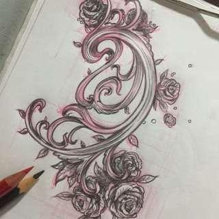 Tattoo, tattooing service, scroll design