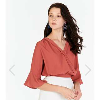 TCL Deria Flute Sleeve Top in Brick Red
