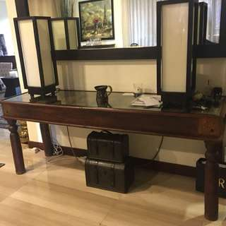 Sheesham wood console table with glass top