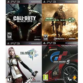 4 PS3 Games for $25 Final Fantasy 13, Gran Turismo 5, Call of Duty Back OPS, Call of Duty Modern Warfare 2