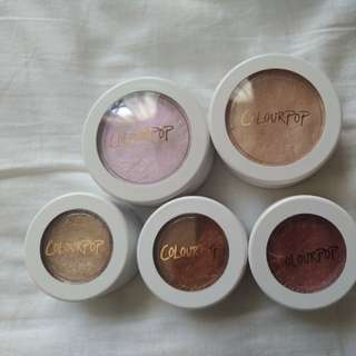 COLOURPOP HIGHLIGHTERS AND EYESHADOWS
