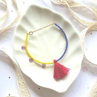 • Handmade Colourful Contrast Beads & Tassel Stacking Bracelet • Arm Candies • Asymmetrical • Adjustable Length