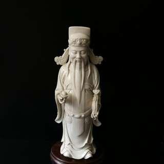 德化象牙白瓷财神爷 高 30 公分 阔 13公分 深 10公分。
