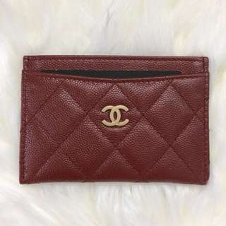Chanel 18C Card Holder Burgundy Red Caviar New