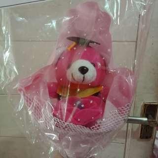 Buket bunga boneka pink