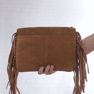 Genuine Leather Tassel Clutch