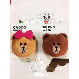 LINE CHOCO & BROWN HAIR TIE
