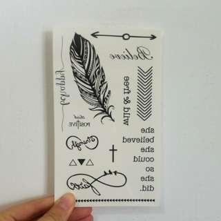 黑色金銀色 4張紋身貼 flash tattoo