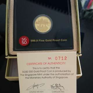 SG 50 $50 Gold Proof Coin (with certificate of authenticity by MAS)