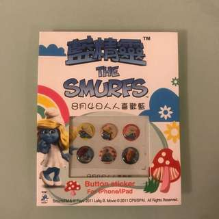 *包平郵* The smurfs 藍精靈 iphone/ipad button sticker