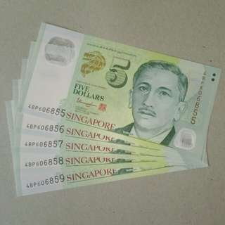 Singapore SGD 5 dollars UNC 5 run polymer notes