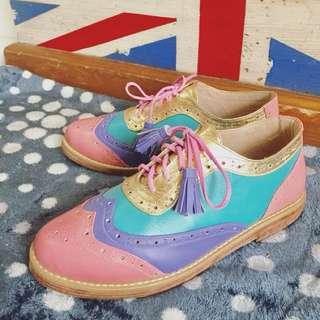 Oxford borgues leather torquis shoes