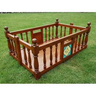 Antique Teak wood Peranakan Infant Swing Bed