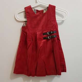 CNY CLEARANCE: BN Red Velvet Dress with Side Buckle