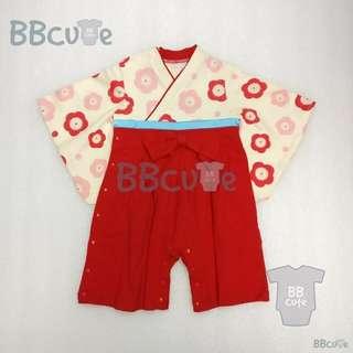 長袖紅色日本和服夾衣